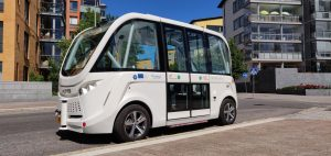 An electric automated shuttle on a street in Helsinki